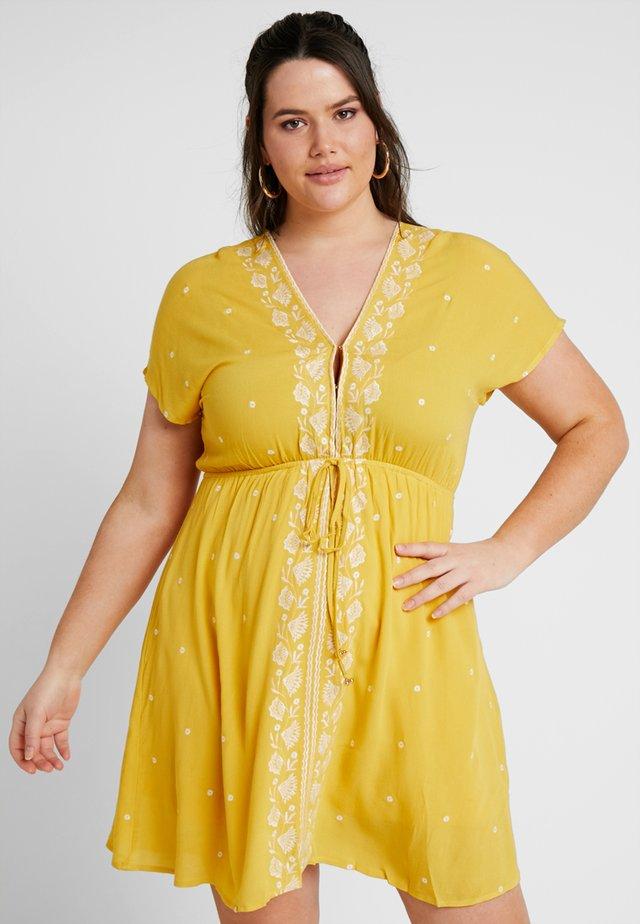 EMBROIDERED CHANNEL WAIST DRESS - Day dress - saffron yellow