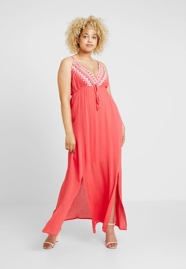 EMBROIDERED CHANNEL WAIST DRESS - Day dress - coral