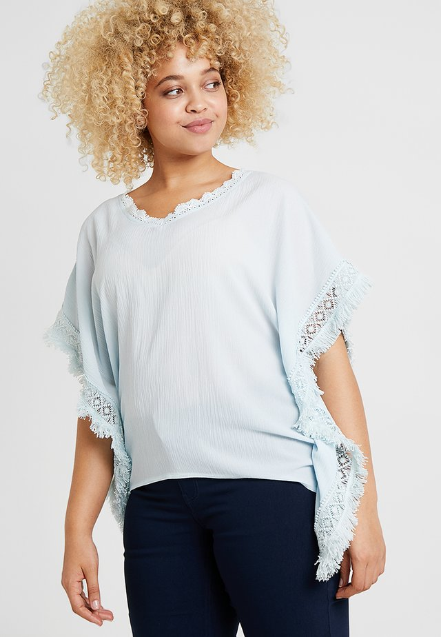 FRINGED KIMONO - Blouse - light blue