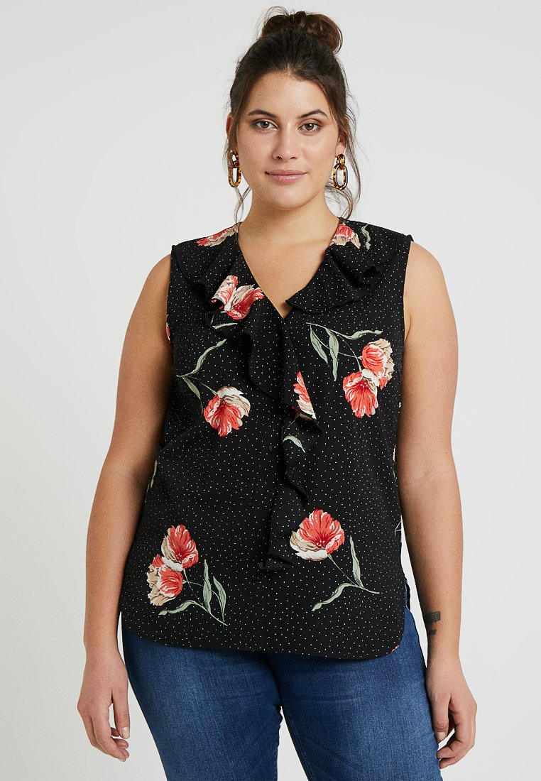 Gabrielle by Molly Bracken - FLORAL RUFFLE FRONT SHELL - Blouse - black