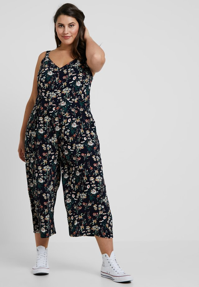 FLORAL WRAP FRONT - Overall / Jumpsuit - navy blue
