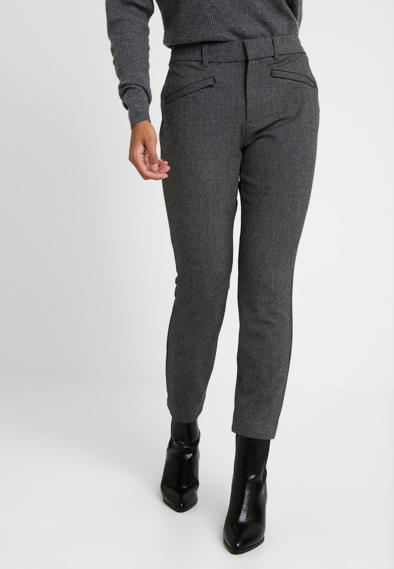 GAP Petite - SKINNY TEXTURE - Trousers - grey heather/white