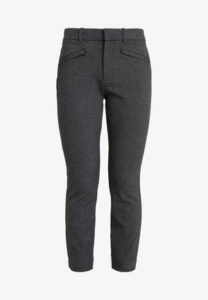 SKINNY TEXTURE - Trousers - grey heather/white