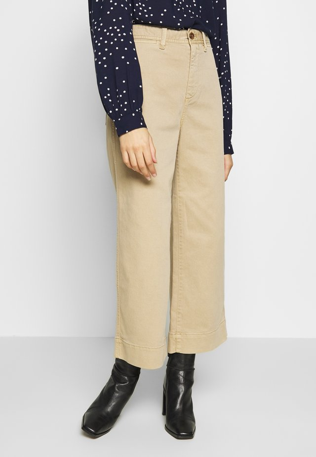WIDE LEG SOLID - Trousers - khaki
