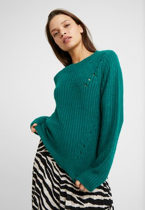 BRUSHED POINTELLE CREW  - Pullover - green