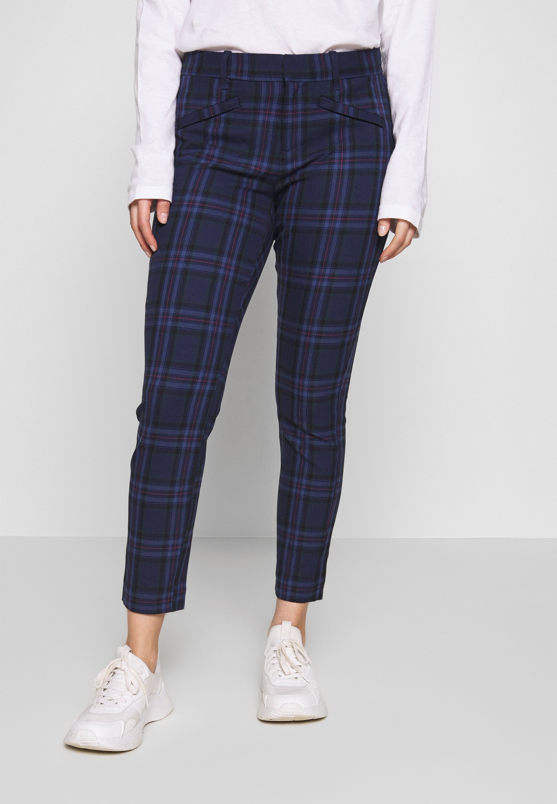 GAP Petite SKINNY ANKLE BISTRETCH - Chinosy - blue plaid combo