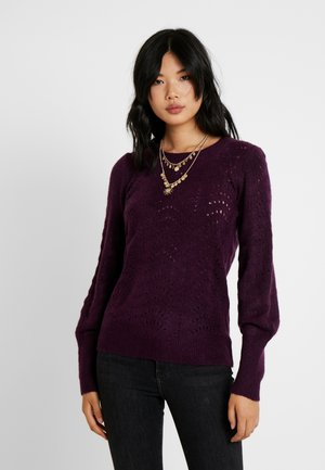 POINTELLE VNECK - Jumper - red wine