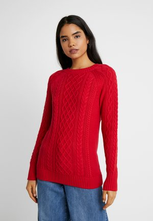 CABLE CREWNECK - Svetr - red