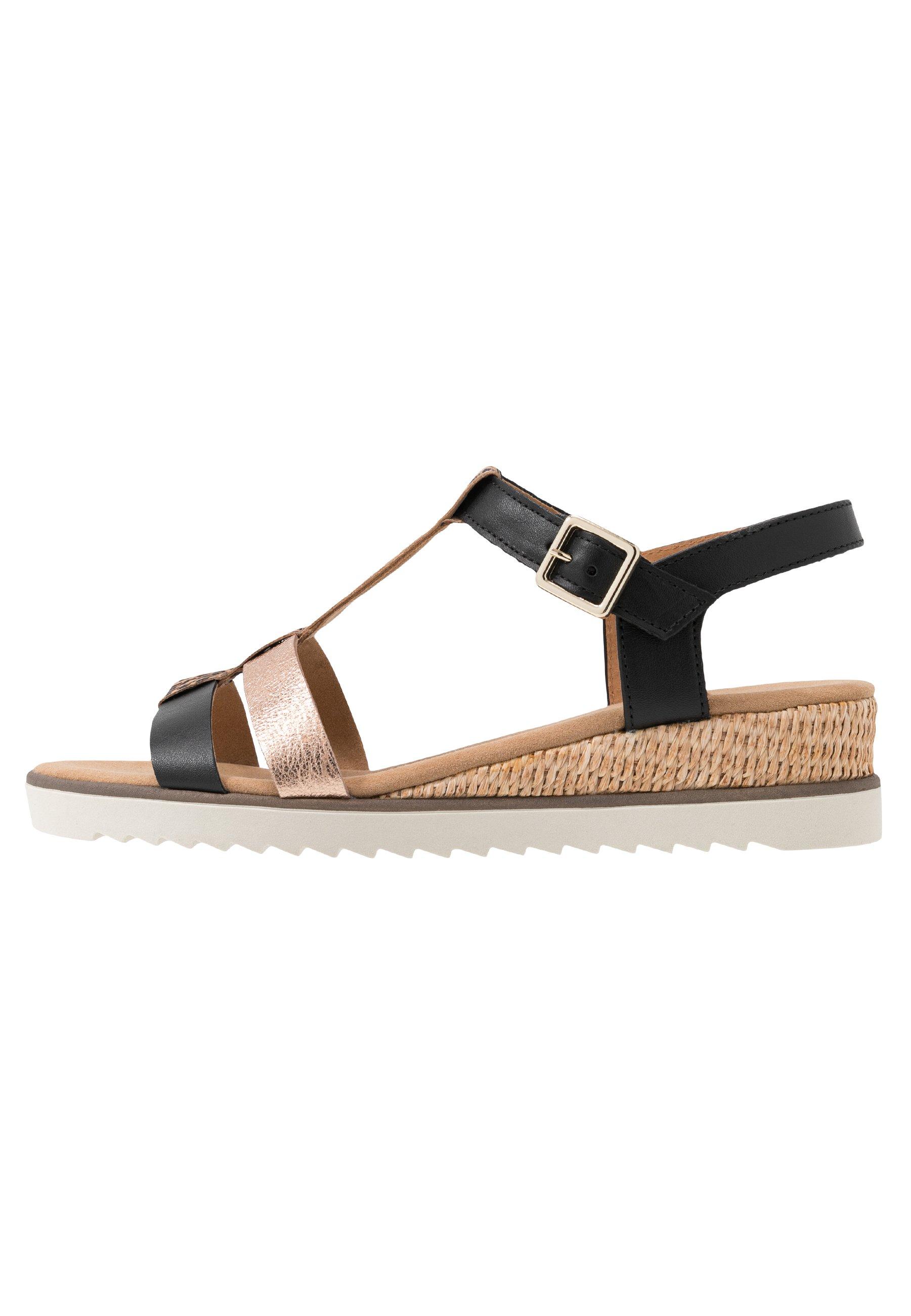 Sandaletter med kilklack foulard idraschwarz