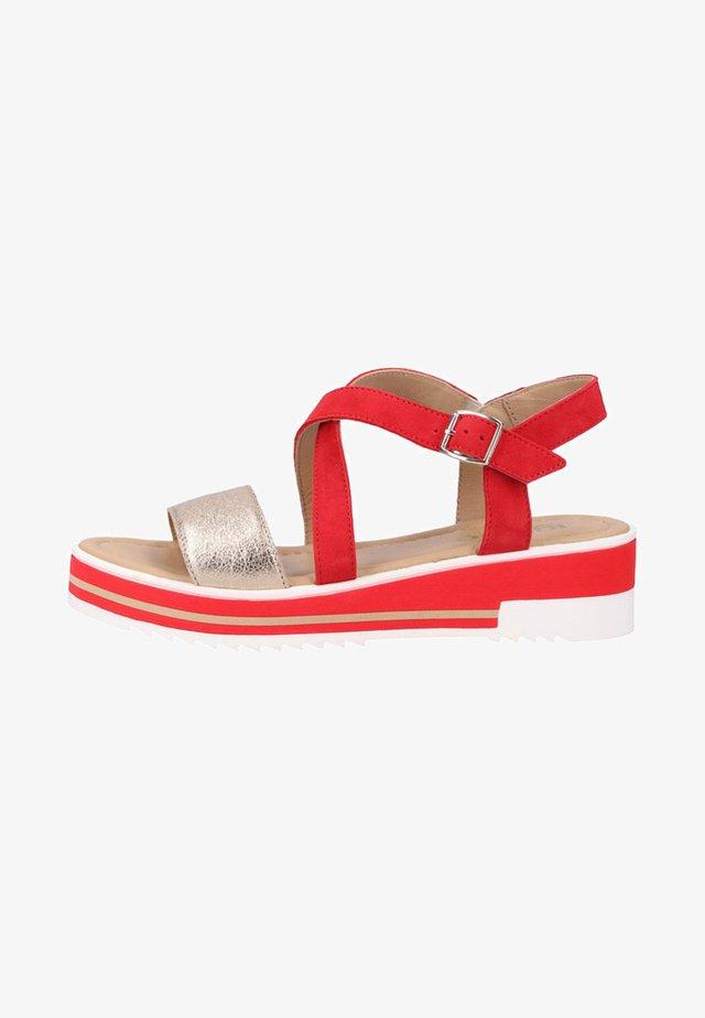 Sandalen met sleehak - red