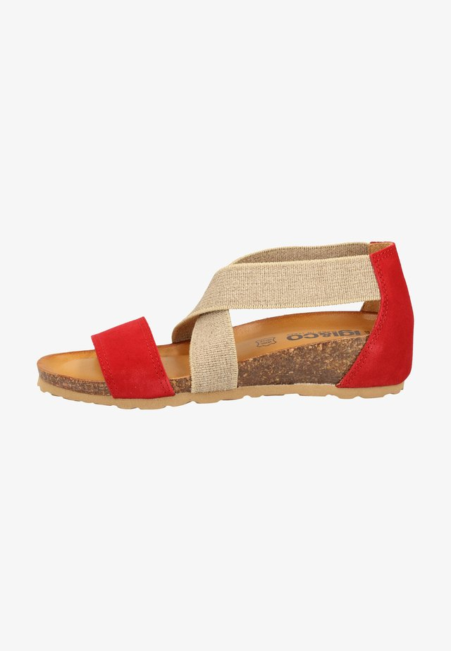 Sandalen met sleehak - red