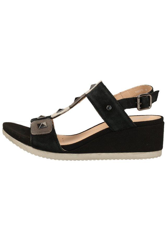 Sandales compensées - black/dark grey