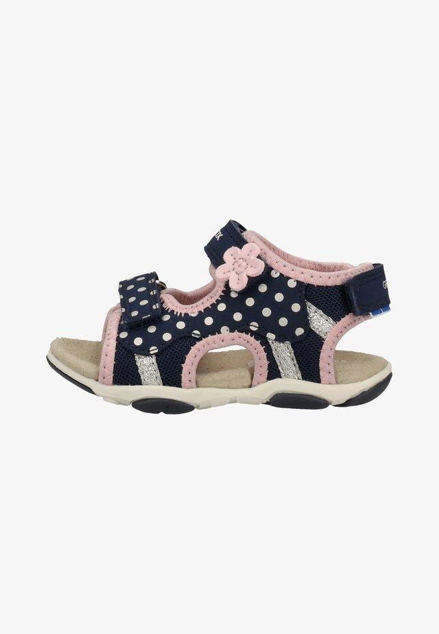 Sandaalit nilkkaremmillä - navy/pink