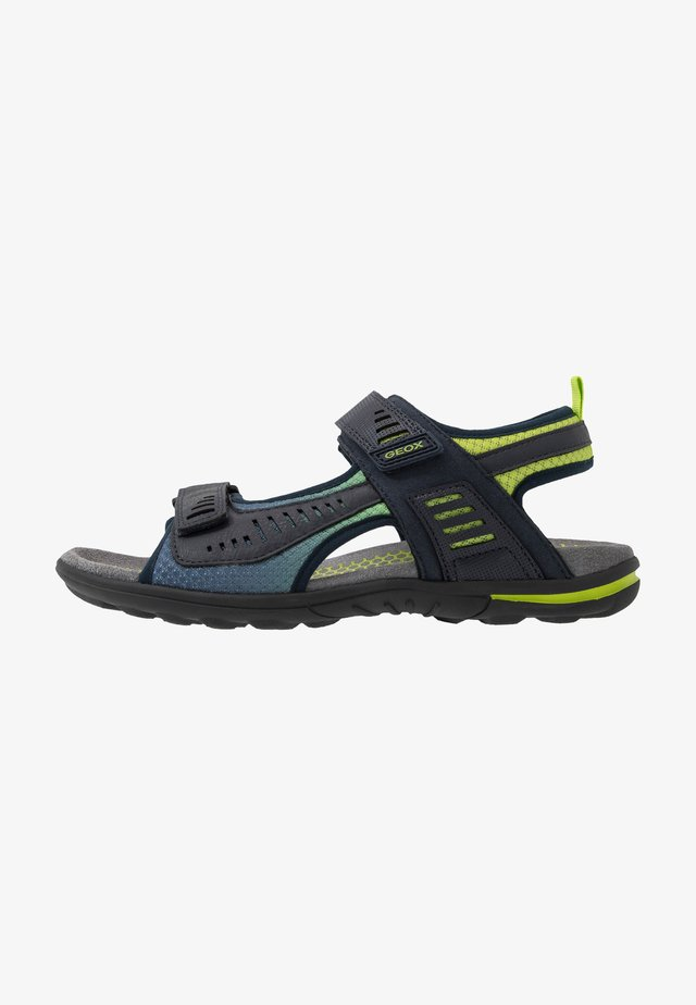 TEVERE - Walking sandals - navy/lime green