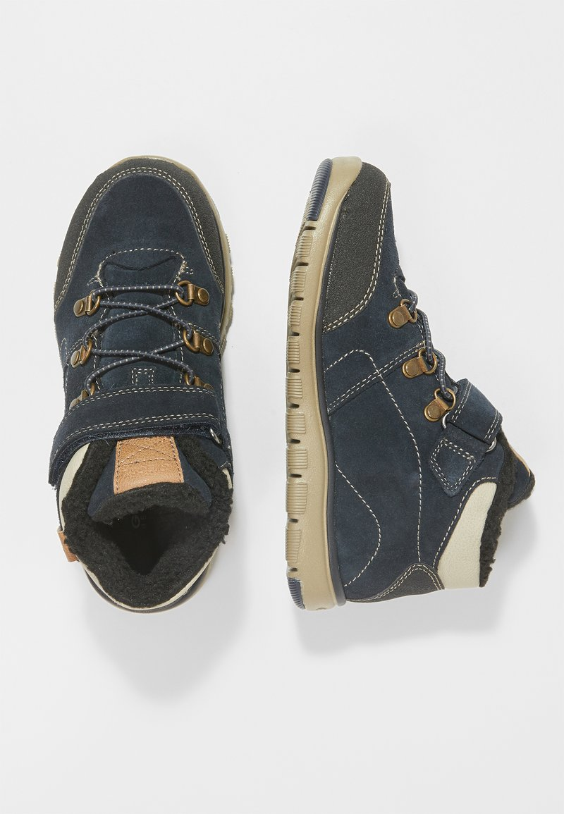 Geox - XUNDAY BOY - Lace-up ankle boots - navy/beige
