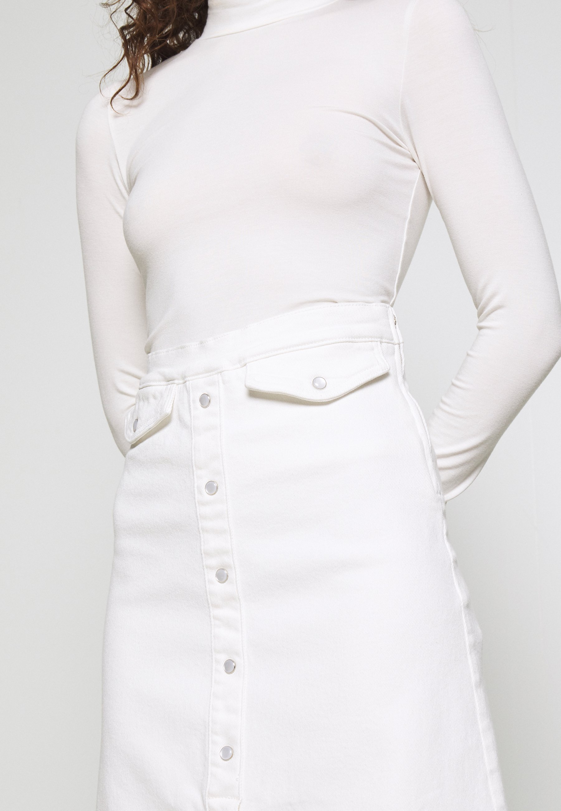 Gestuz ASTRID LONG SKIRT Jeansrok bright white Zalando.nl