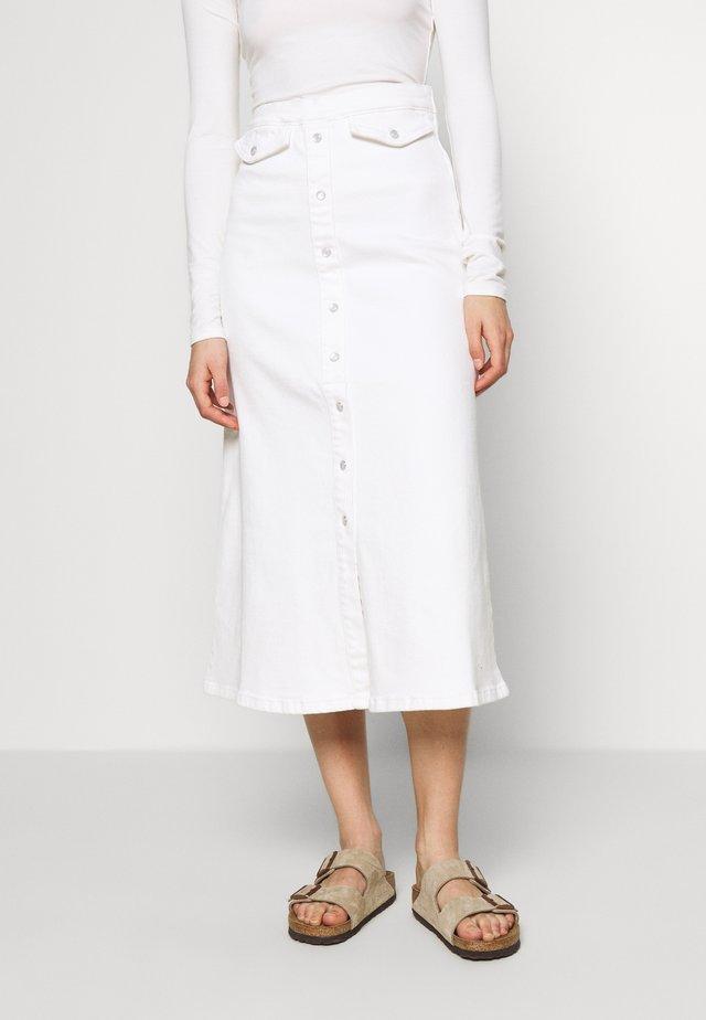 ASTRID LONG SKIRT - Denimová sukně - bright white