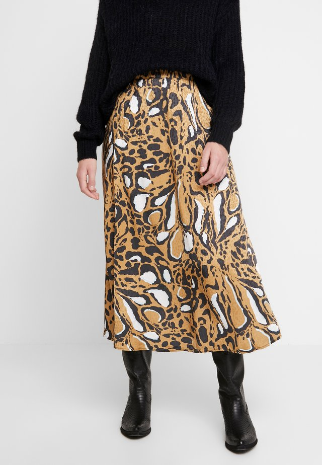 LORI SKIRT - A-linjainen hame - brown leo