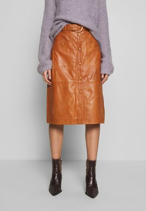 MAIRIGZ SKIRT - Leather skirt - cognac