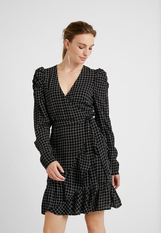 DENICE WRAP DRESS - Day dress - black/white