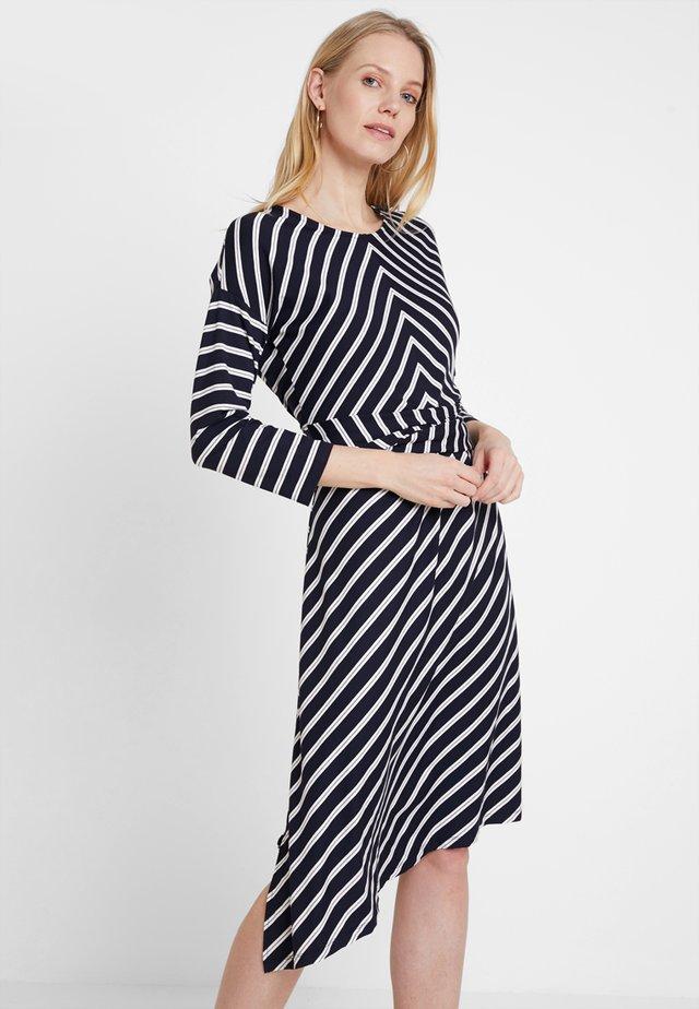 Jersey dress - blau/ecru/weiss