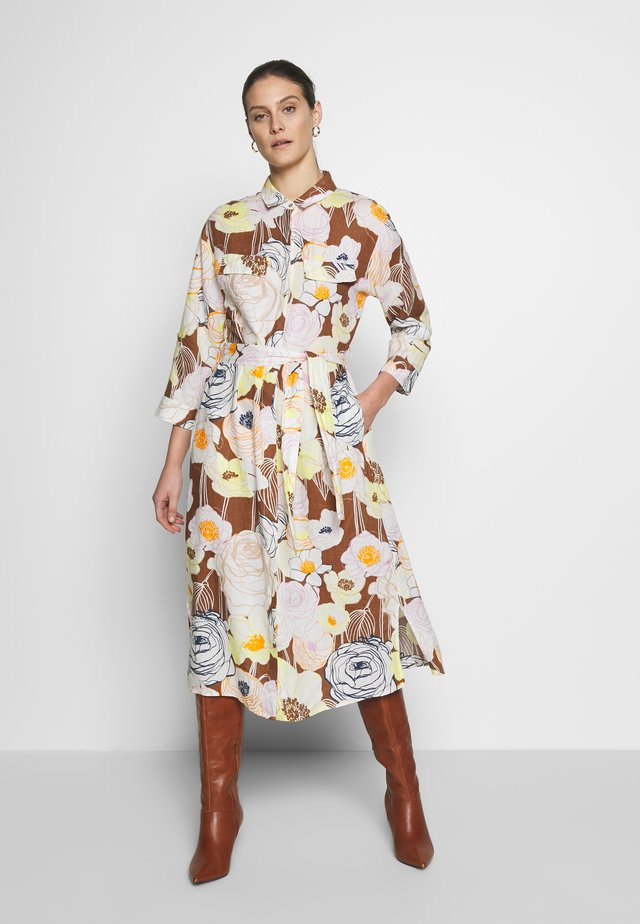 Shirt dress - braun/gelb