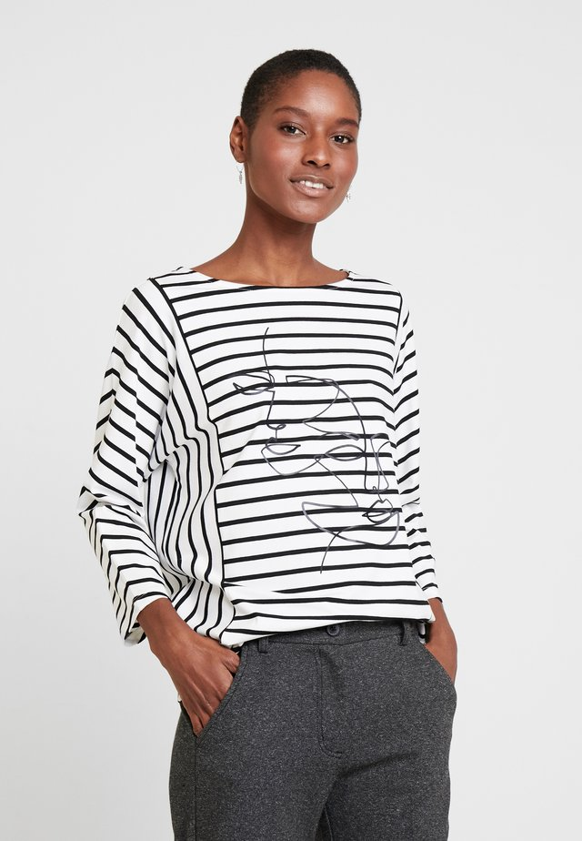 Long sleeved top - ecru/weiss/schwarz