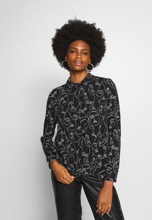 Button-down blouse - schwarz/ecru/weiss