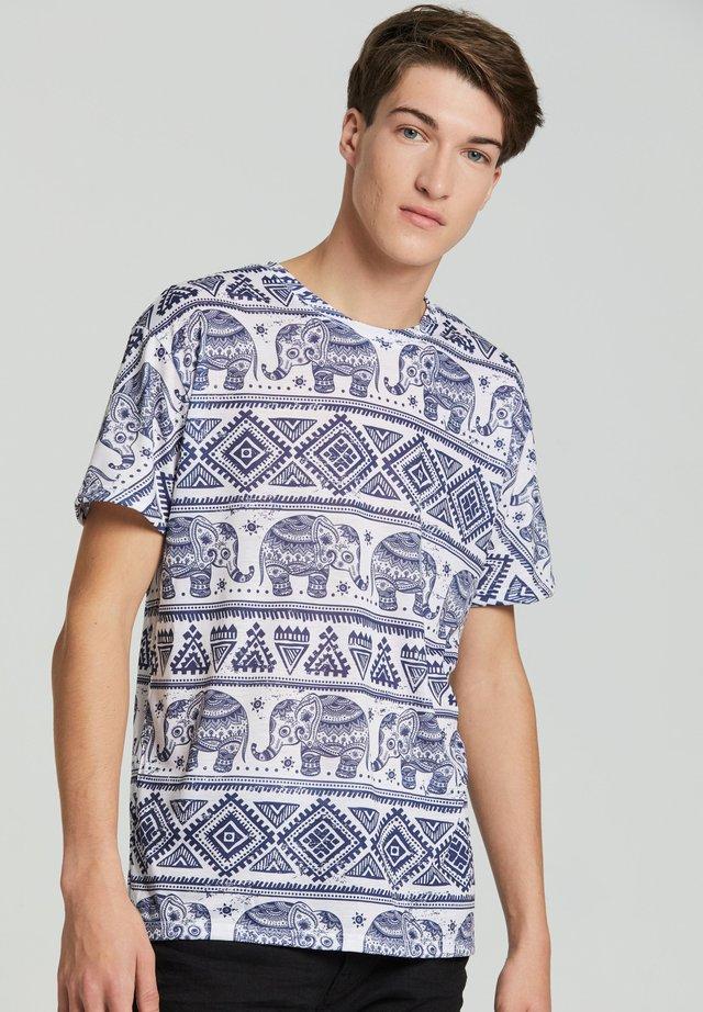 ELEPHANTS PATTERN  - Print T-shirt - white