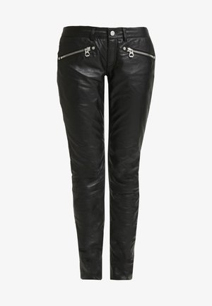 ZIPA TROUSER - Leather trousers - black