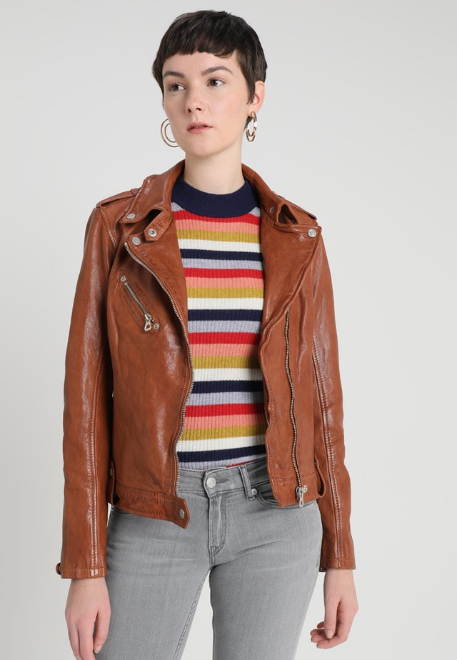FAMOS - Leather jacket - cognac