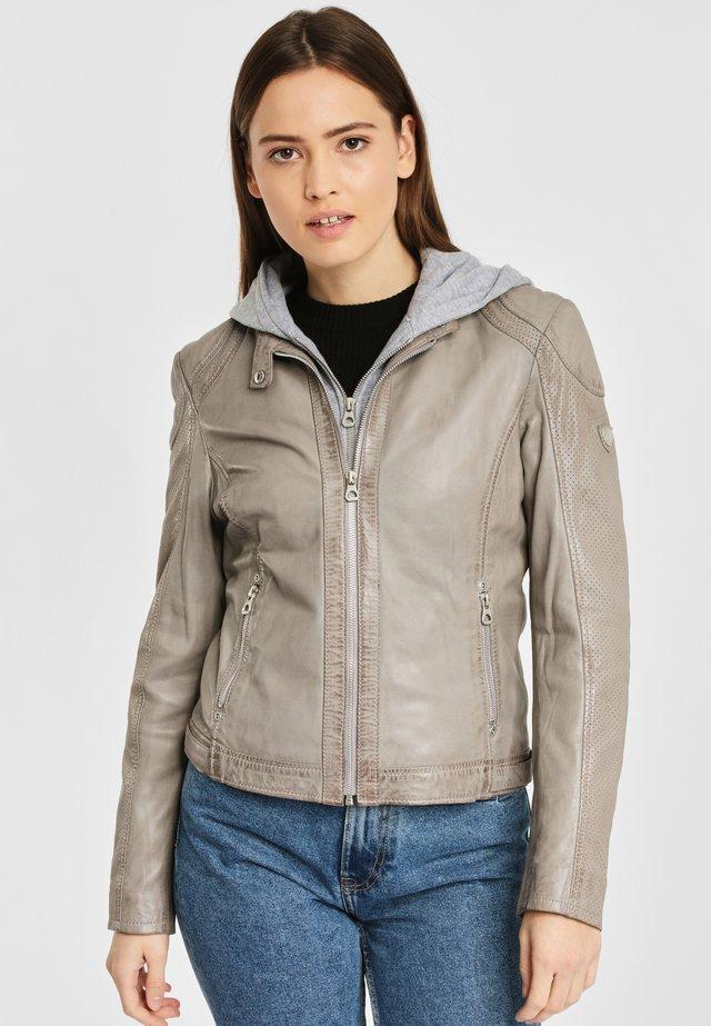 AELLY LAMAS - Leather jacket - light grey