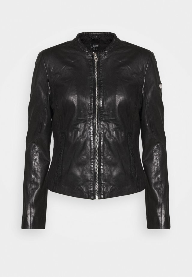 LASTAV - Leather jacket - black