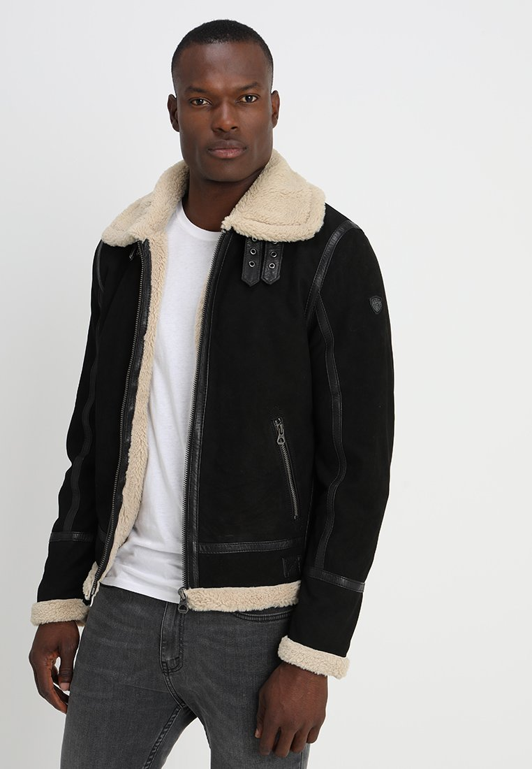 Gipsy - AIR FORCE - Leather jacket - schwarz/beige