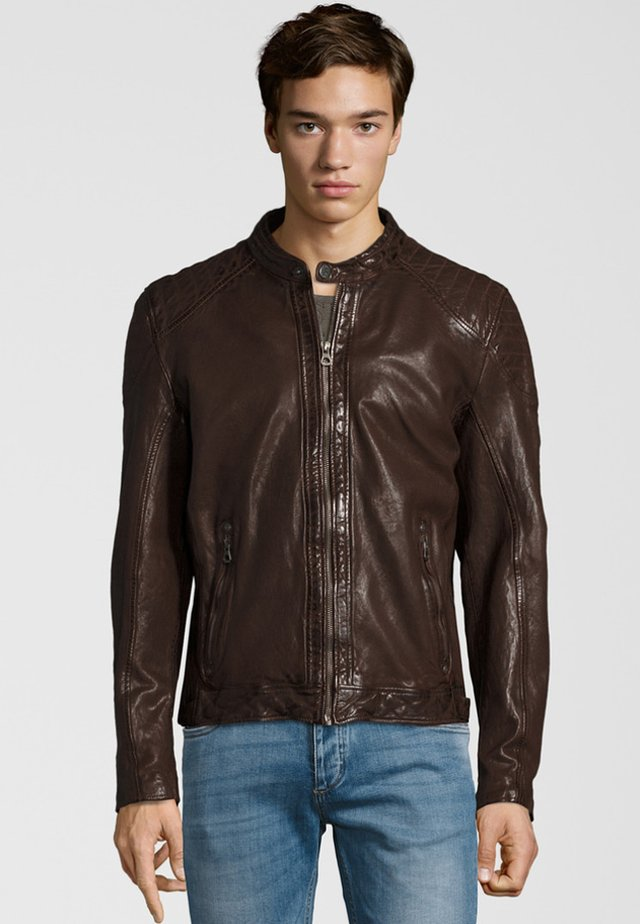 GARREN  - Lederjacke - dark brown