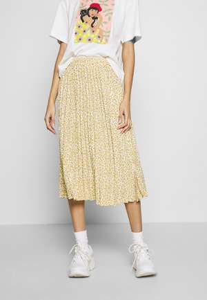 SARINA PLEATED SKIRT - A-line skjørt - white/yellow