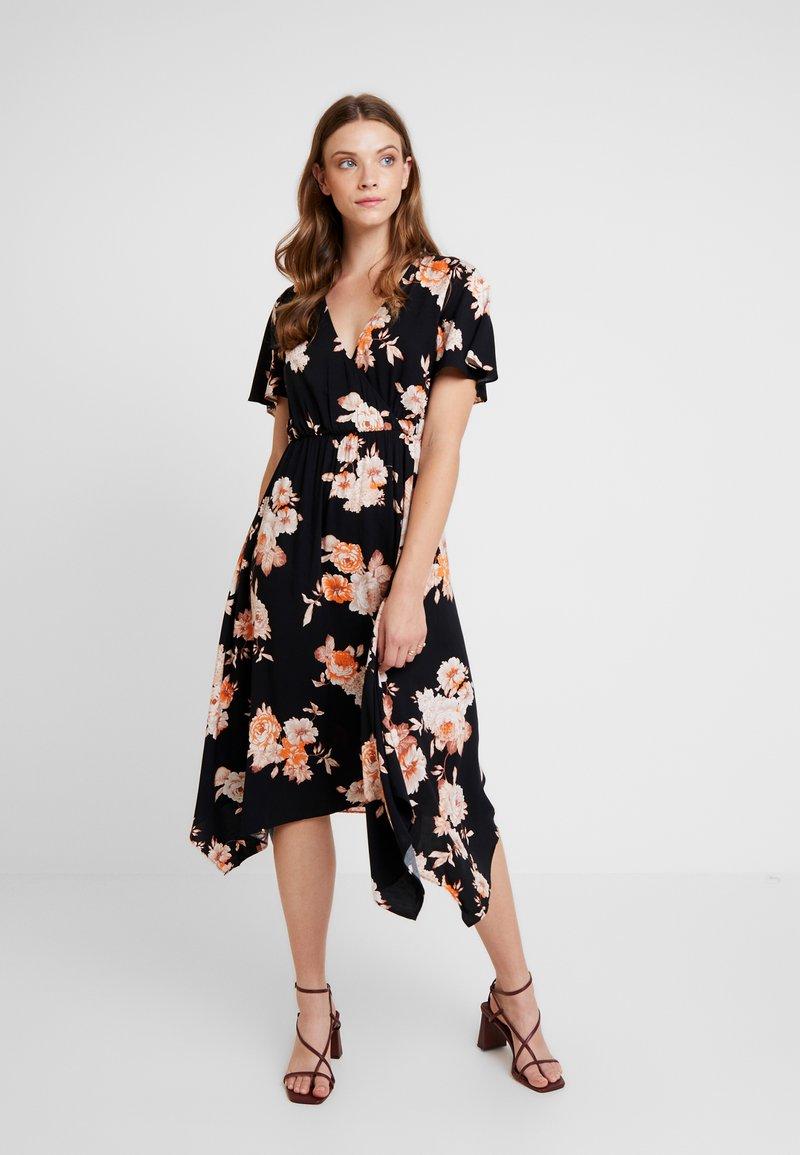 Gina Tricot - SATINA WRAP DRESS - Freizeitkleid - black/orange