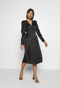 Gina Tricot - JOAN WRAP DRESS - Day dress - black - 1