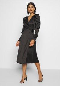 Gina Tricot - JOAN WRAP DRESS - Day dress - black - 0
