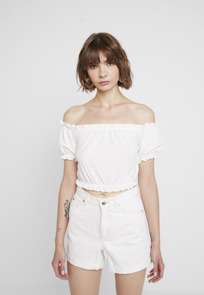 Gina Tricot - BIANCA FRILL - Camiseta estampada - off white