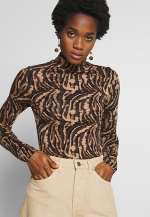 DORSIA TURTLENECK - Long sleeved top - brown/black
