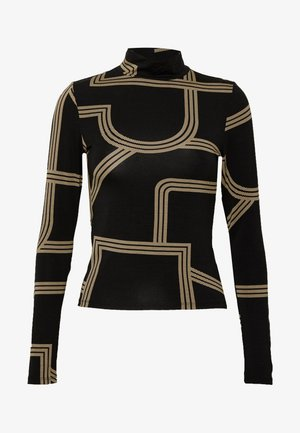 DORSIA TURTLENECK - Long sleeved top - black/beige
