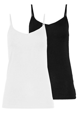 BASIC SINGLET 2 PACK - Topper - black/white
