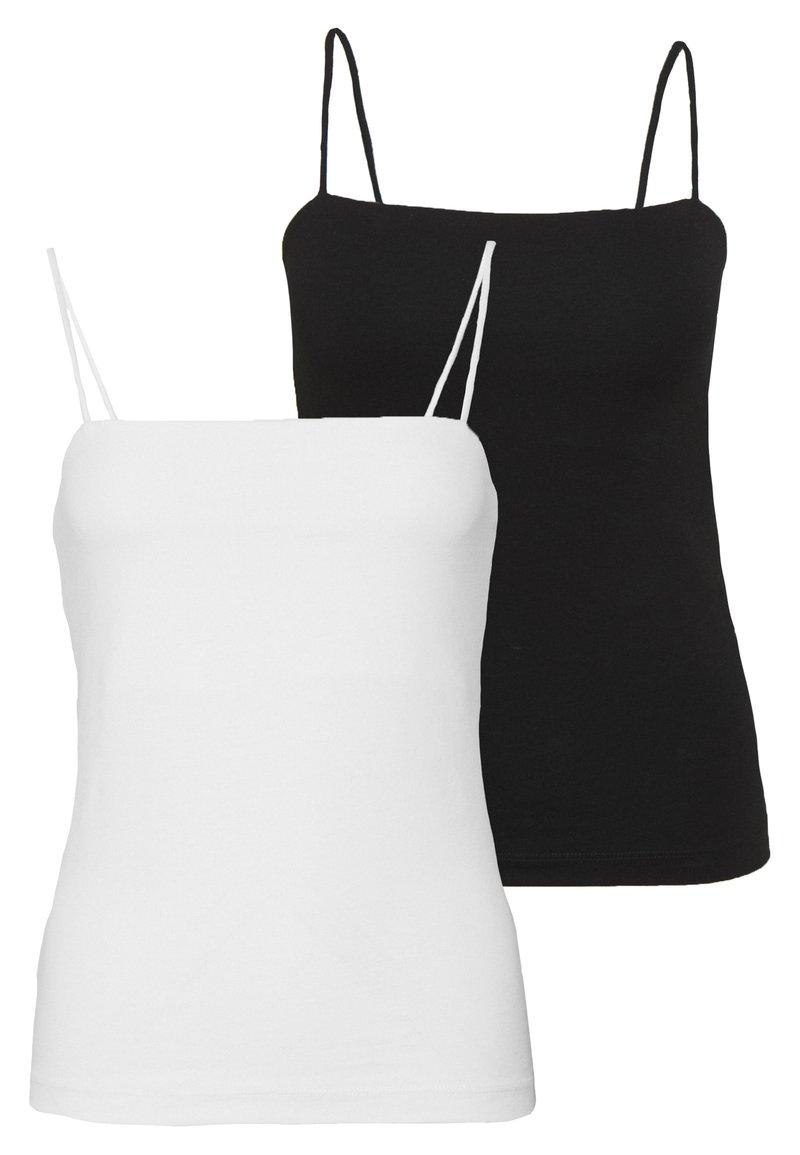 Gina Tricot - SCARLETT SINGLET 2 PACK - Toppe - black/white