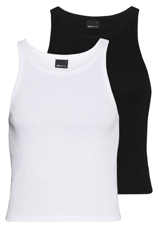 SANNA TANK 2 PACK - Linne - black/white