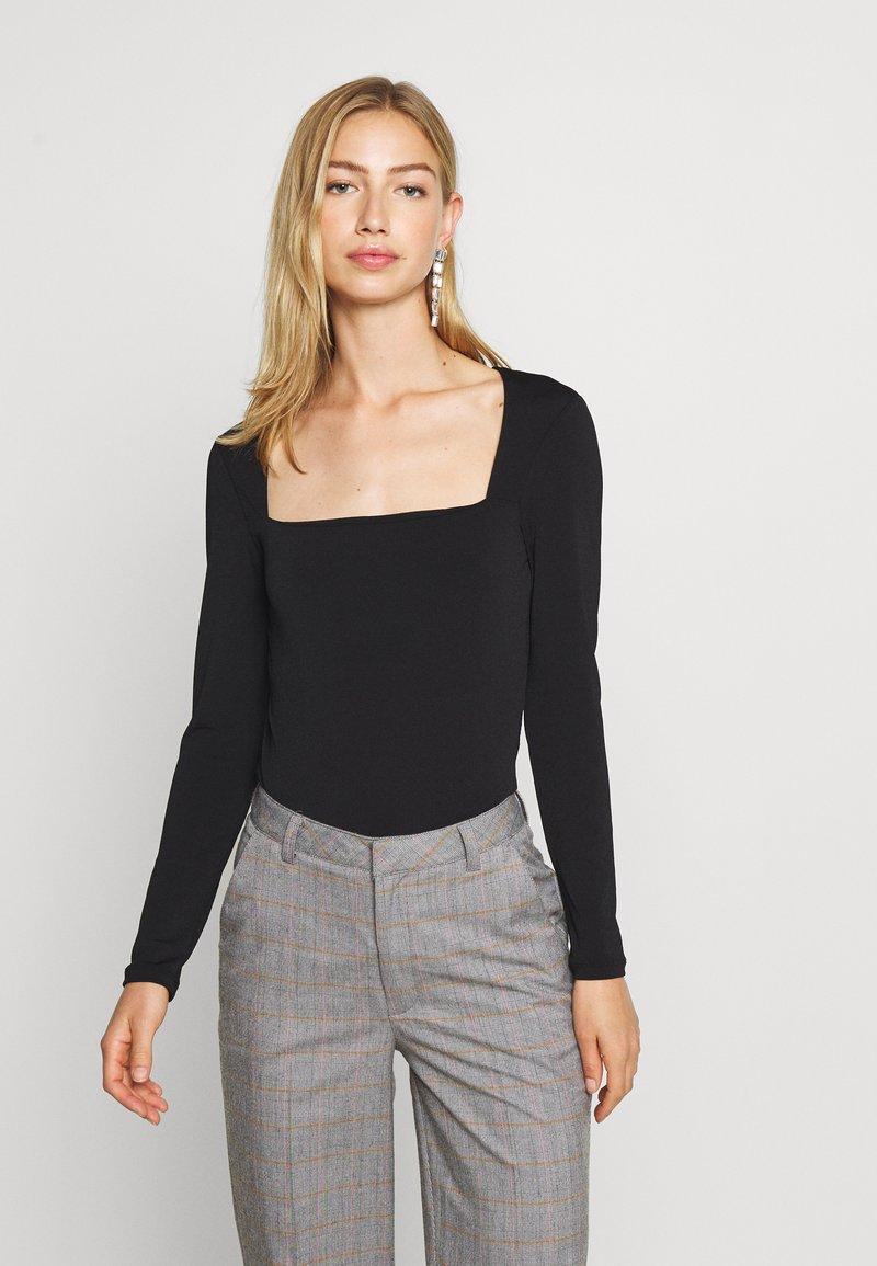 Gina Tricot - LEA SQUARE NECK - Langærmede T-shirts - black