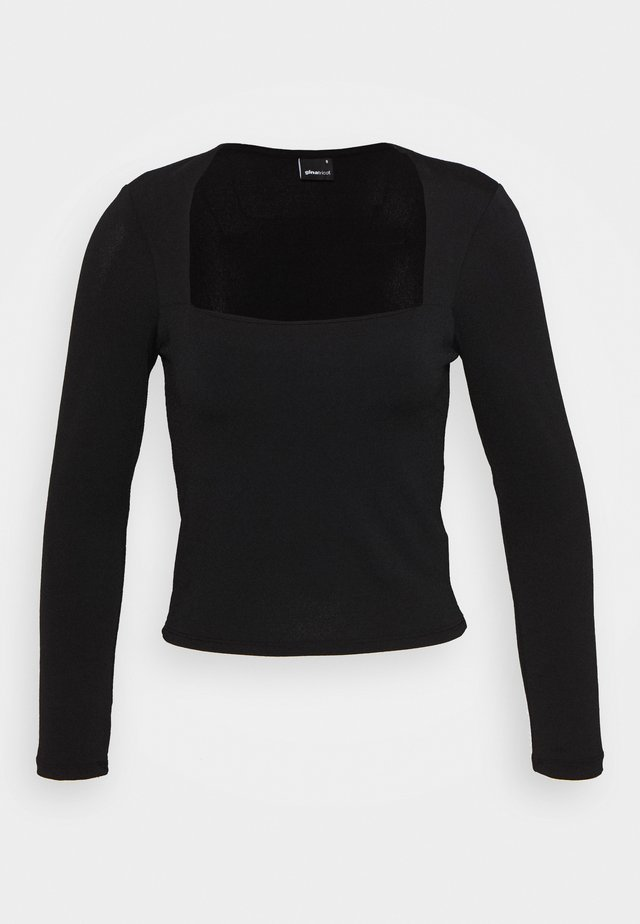 LEA SQUARE NECK TOP - Langærmede T-shirts - black
