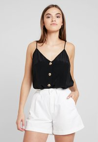 Gina Tricot - MINDY BUTTON DOWN SINGLET - Linne - black - 0