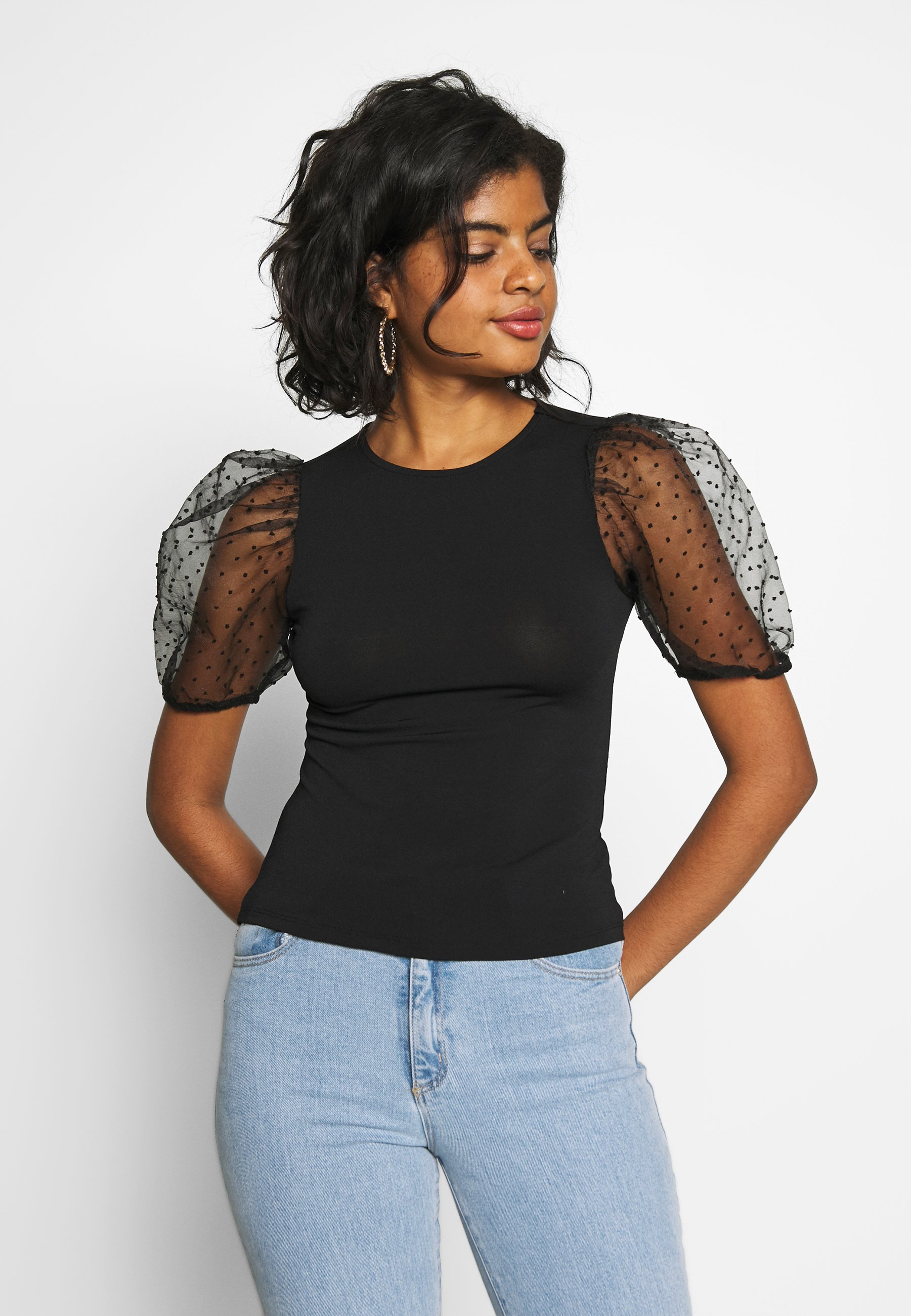 Gina Tricot PIA ORGANZA - T-shirts med print - black