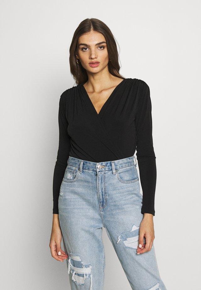 SAMIE SHOULDER - T-shirt à manches longues - black